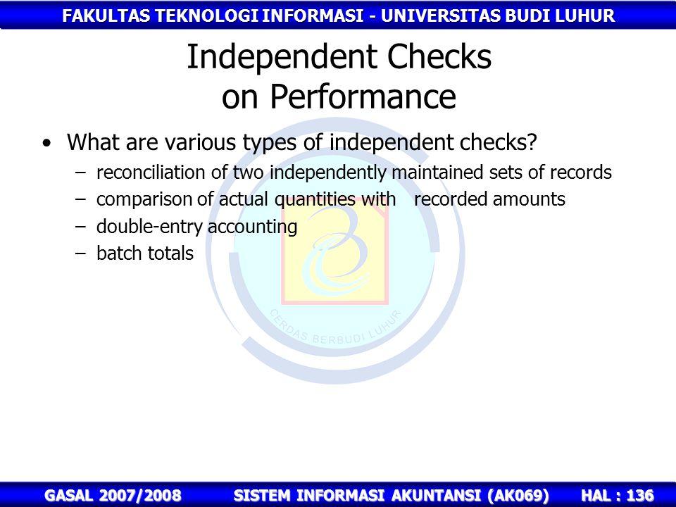 FAKULTAS TEKNOLOGI INFORMASI - UNIVERSITAS BUDI LUHUR HAL : 136 GASAL 2007/2008SISTEM INFORMASI AKUNTANSI (AK069) Independent Checks on Performance What are various types of independent checks.