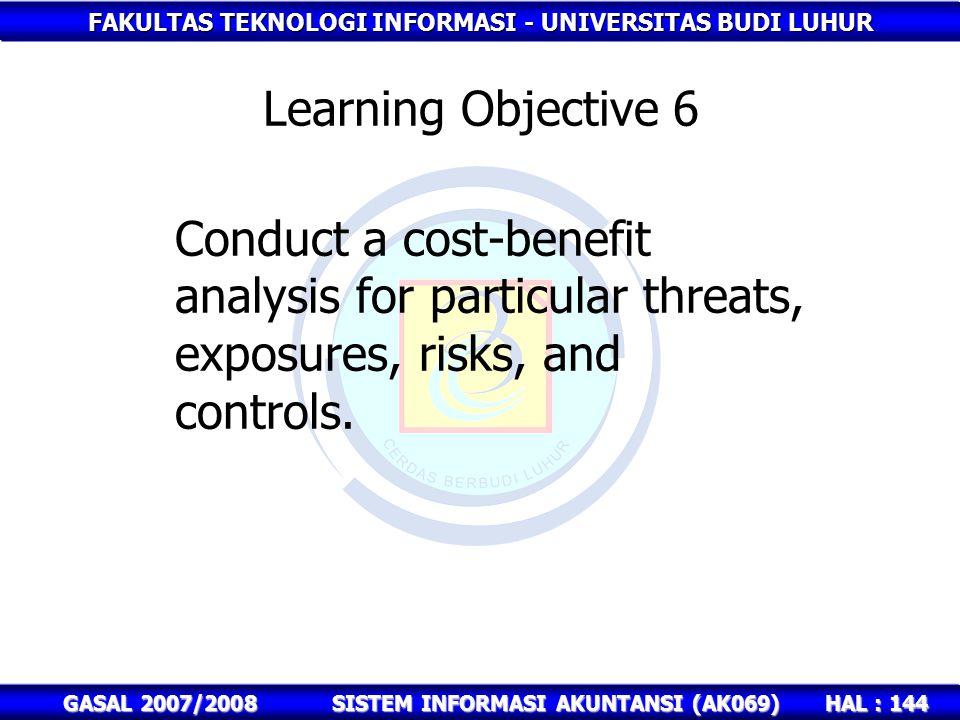 FAKULTAS TEKNOLOGI INFORMASI - UNIVERSITAS BUDI LUHUR HAL : 144 GASAL 2007/2008SISTEM INFORMASI AKUNTANSI (AK069) Learning Objective 6 Conduct a cost-benefit analysis for particular threats, exposures, risks, and controls.