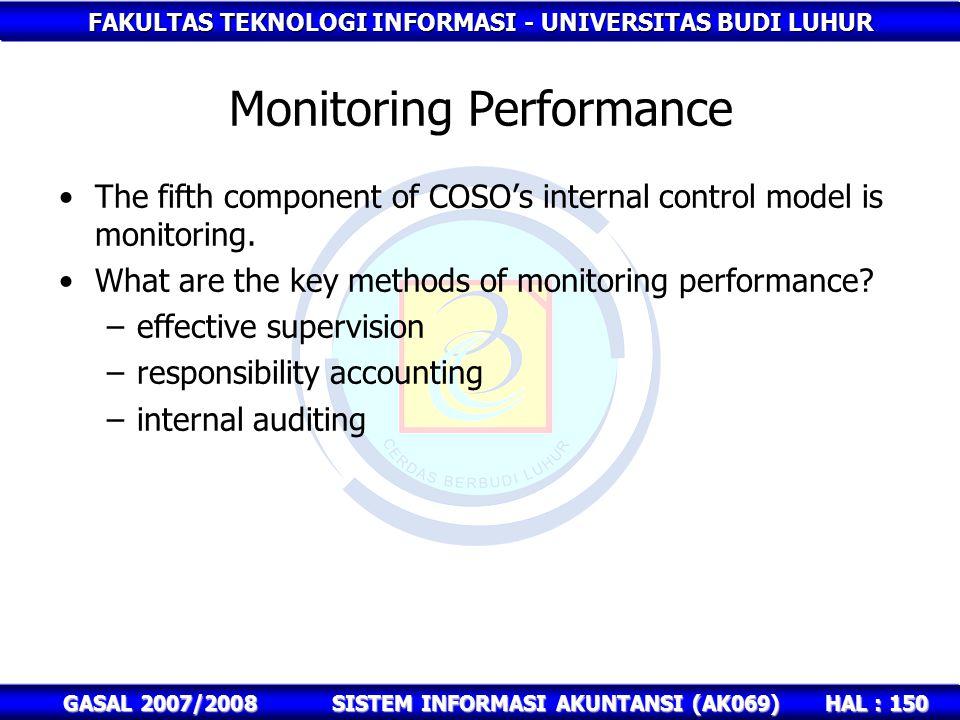 FAKULTAS TEKNOLOGI INFORMASI - UNIVERSITAS BUDI LUHUR HAL : 150 GASAL 2007/2008SISTEM INFORMASI AKUNTANSI (AK069) Monitoring Performance The fifth component of COSO's internal control model is monitoring.
