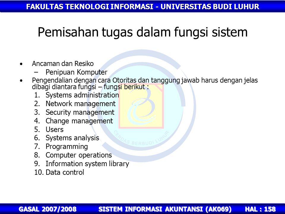 FAKULTAS TEKNOLOGI INFORMASI - UNIVERSITAS BUDI LUHUR HAL : 158 GASAL 2007/2008SISTEM INFORMASI AKUNTANSI (AK069) Pemisahan tugas dalam fungsi sistem Ancaman dan Resiko –Penipuan Komputer Pengendalian dengan cara Otoritas dan tanggung jawab harus dengan jelas dibagi diantara fungsi – fungsi berikut : 1.Systems administration 2.Network management 3.Security management 4.Change management 5.Users 6.Systems analysis 7.Programming 8.Computer operations 9.Information system library 10.Data control
