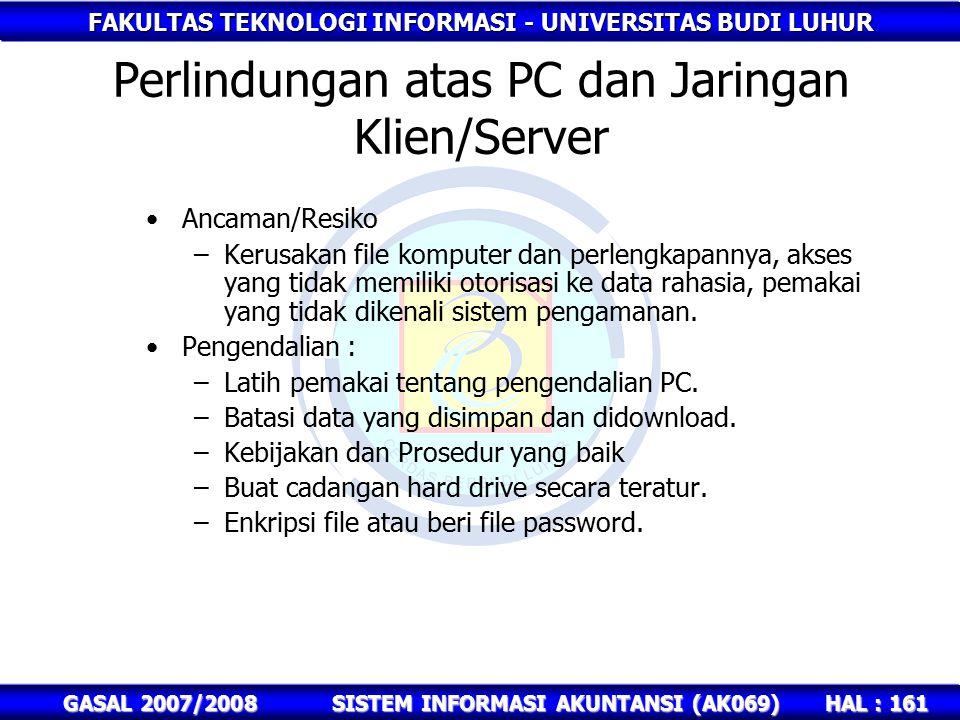 FAKULTAS TEKNOLOGI INFORMASI - UNIVERSITAS BUDI LUHUR HAL : 161 GASAL 2007/2008SISTEM INFORMASI AKUNTANSI (AK069) Perlindungan atas PC dan Jaringan Klien/Server Ancaman/Resiko –Kerusakan file komputer dan perlengkapannya, akses yang tidak memiliki otorisasi ke data rahasia, pemakai yang tidak dikenali sistem pengamanan.