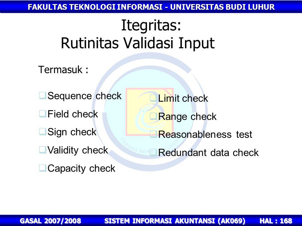 FAKULTAS TEKNOLOGI INFORMASI - UNIVERSITAS BUDI LUHUR HAL : 168 GASAL 2007/2008SISTEM INFORMASI AKUNTANSI (AK069) Itegritas: Rutinitas Validasi Input Termasuk :  Limit check  Range check  Reasonableness test  Redundant data check  Sequence check  Field check  Sign check  Validity check  Capacity check