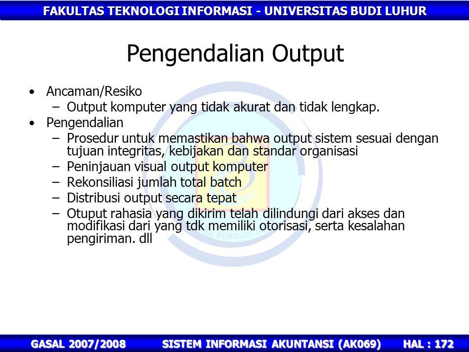 FAKULTAS TEKNOLOGI INFORMASI - UNIVERSITAS BUDI LUHUR HAL : 172 GASAL 2007/2008SISTEM INFORMASI AKUNTANSI (AK069) Pengendalian Output Ancaman/Resiko –Output komputer yang tidak akurat dan tidak lengkap.