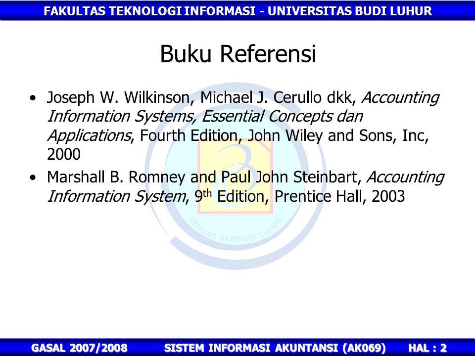 FAKULTAS TEKNOLOGI INFORMASI - UNIVERSITAS BUDI LUHUR HAL : 2 GASAL 2007/2008SISTEM INFORMASI AKUNTANSI (AK069) Buku Referensi Joseph W.