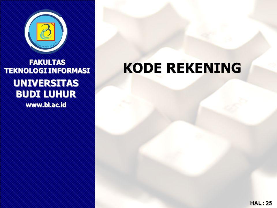 UNIVERSITAS BUDI LUHUR FAKULTAS TEKNOLOGI INFORMASI www.bl.ac.id HAL : 25 KODE REKENING