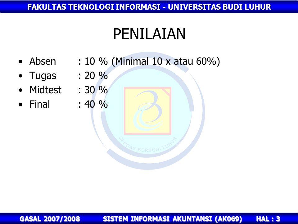 FAKULTAS TEKNOLOGI INFORMASI - UNIVERSITAS BUDI LUHUR HAL : 3 GASAL 2007/2008SISTEM INFORMASI AKUNTANSI (AK069) PENILAIAN Absen : 10 % (Minimal 10 x atau 60%) Tugas: 20 % Midtest: 30 % Final : 40 %