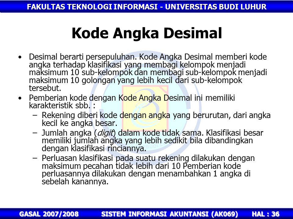 FAKULTAS TEKNOLOGI INFORMASI - UNIVERSITAS BUDI LUHUR HAL : 36 GASAL 2007/2008SISTEM INFORMASI AKUNTANSI (AK069) Kode Angka Desimal Desimal berarti persepuluhan.