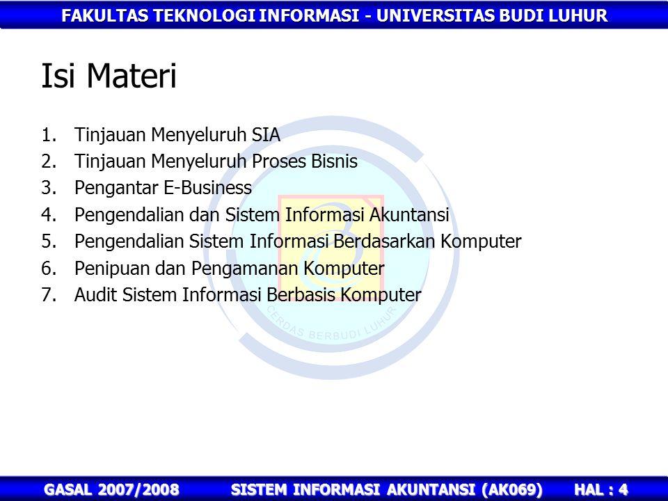 FAKULTAS TEKNOLOGI INFORMASI - UNIVERSITAS BUDI LUHUR HAL : 4 GASAL 2007/2008SISTEM INFORMASI AKUNTANSI (AK069) Isi Materi 1.Tinjauan Menyeluruh SIA 2.Tinjauan Menyeluruh Proses Bisnis 3.Pengantar E-Business 4.Pengendalian dan Sistem Informasi Akuntansi 5.Pengendalian Sistem Informasi Berdasarkan Komputer 6.Penipuan dan Pengamanan Komputer 7.Audit Sistem Informasi Berbasis Komputer
