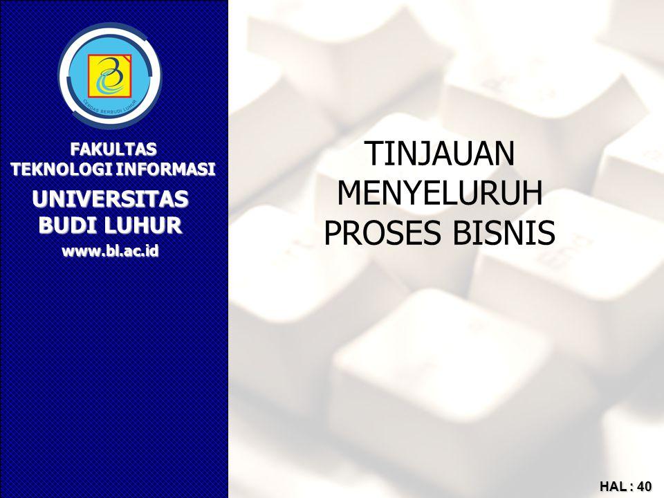 UNIVERSITAS BUDI LUHUR FAKULTAS TEKNOLOGI INFORMASI www.bl.ac.id HAL : 40 TINJAUAN MENYELURUH PROSES BISNIS