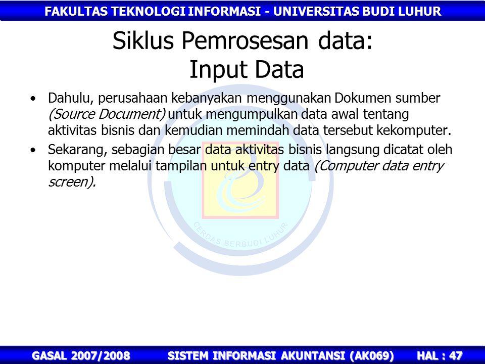 FAKULTAS TEKNOLOGI INFORMASI - UNIVERSITAS BUDI LUHUR HAL : 47 GASAL 2007/2008SISTEM INFORMASI AKUNTANSI (AK069) Siklus Pemrosesan data: Input Data Dahulu, perusahaan kebanyakan menggunakan Dokumen sumber (Source Document) untuk mengumpulkan data awal tentang aktivitas bisnis dan kemudian memindah data tersebut kekomputer.