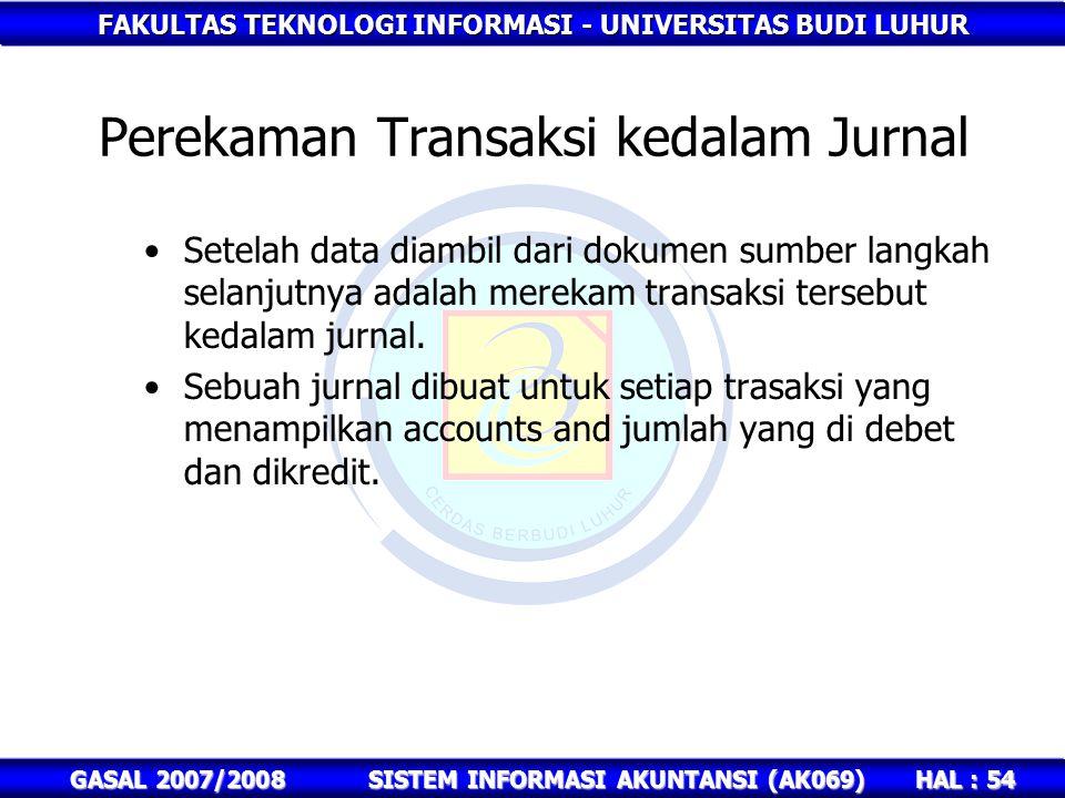 FAKULTAS TEKNOLOGI INFORMASI - UNIVERSITAS BUDI LUHUR HAL : 54 GASAL 2007/2008SISTEM INFORMASI AKUNTANSI (AK069) Setelah data diambil dari dokumen sumber langkah selanjutnya adalah merekam transaksi tersebut kedalam jurnal.