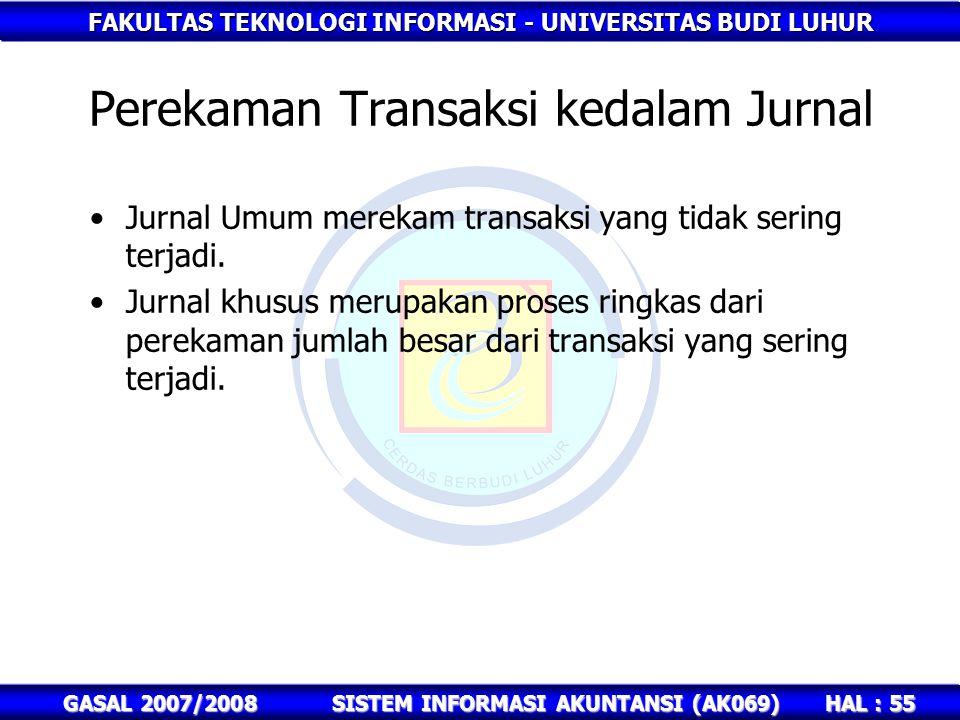 FAKULTAS TEKNOLOGI INFORMASI - UNIVERSITAS BUDI LUHUR HAL : 55 GASAL 2007/2008SISTEM INFORMASI AKUNTANSI (AK069) Perekaman Transaksi kedalam Jurnal Jurnal Umum merekam transaksi yang tidak sering terjadi.