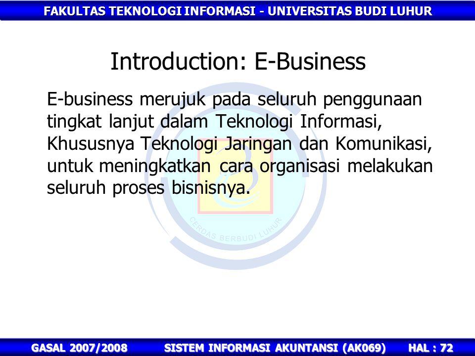 FAKULTAS TEKNOLOGI INFORMASI - UNIVERSITAS BUDI LUHUR HAL : 72 GASAL 2007/2008SISTEM INFORMASI AKUNTANSI (AK069) E-business merujuk pada seluruh penggunaan tingkat lanjut dalam Teknologi Informasi, Khususnya Teknologi Jaringan dan Komunikasi, untuk meningkatkan cara organisasi melakukan seluruh proses bisnisnya.