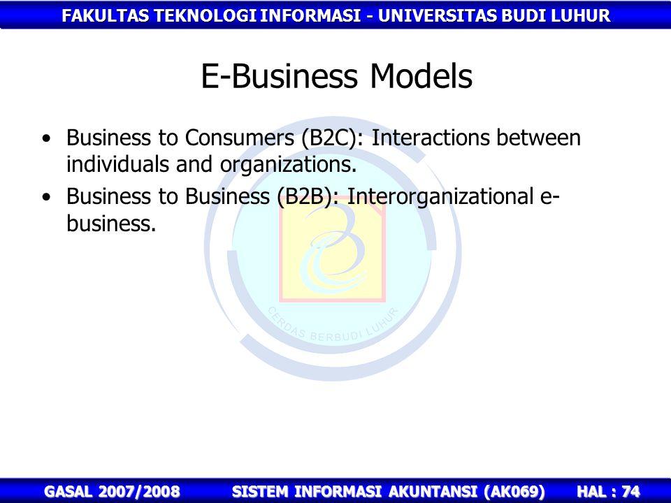 FAKULTAS TEKNOLOGI INFORMASI - UNIVERSITAS BUDI LUHUR HAL : 74 GASAL 2007/2008SISTEM INFORMASI AKUNTANSI (AK069) E-Business Models Business to Consumers (B2C): Interactions between individuals and organizations.