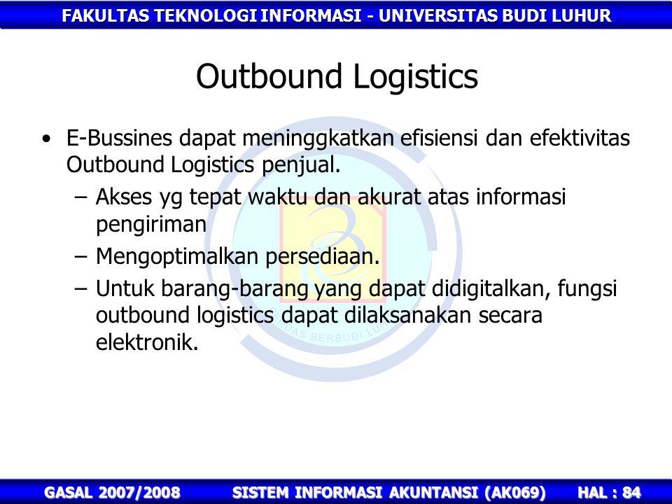 FAKULTAS TEKNOLOGI INFORMASI - UNIVERSITAS BUDI LUHUR HAL : 84 GASAL 2007/2008SISTEM INFORMASI AKUNTANSI (AK069) Outbound Logistics E-Bussines dapat meninggkatkan efisiensi dan efektivitas Outbound Logistics penjual.