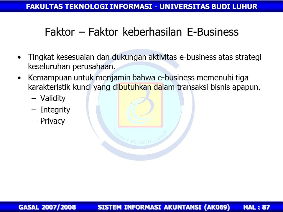 FAKULTAS TEKNOLOGI INFORMASI - UNIVERSITAS BUDI LUHUR HAL : 87 GASAL 2007/2008SISTEM INFORMASI AKUNTANSI (AK069) Faktor – Faktor keberhasilan E-Business Tingkat kesesuaian dan dukungan aktivitas e-business atas strategi keseluruhan perusahaan.