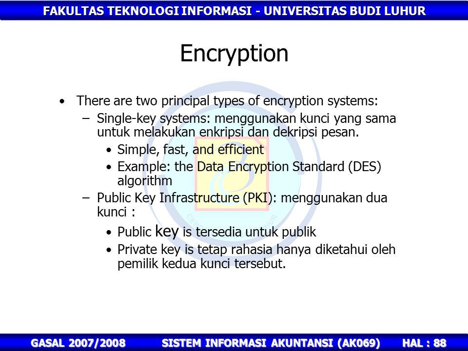 FAKULTAS TEKNOLOGI INFORMASI - UNIVERSITAS BUDI LUHUR HAL : 88 GASAL 2007/2008SISTEM INFORMASI AKUNTANSI (AK069) Encryption There are two principal types of encryption systems: –Single-key systems: menggunakan kunci yang sama untuk melakukan enkripsi dan dekripsi pesan.