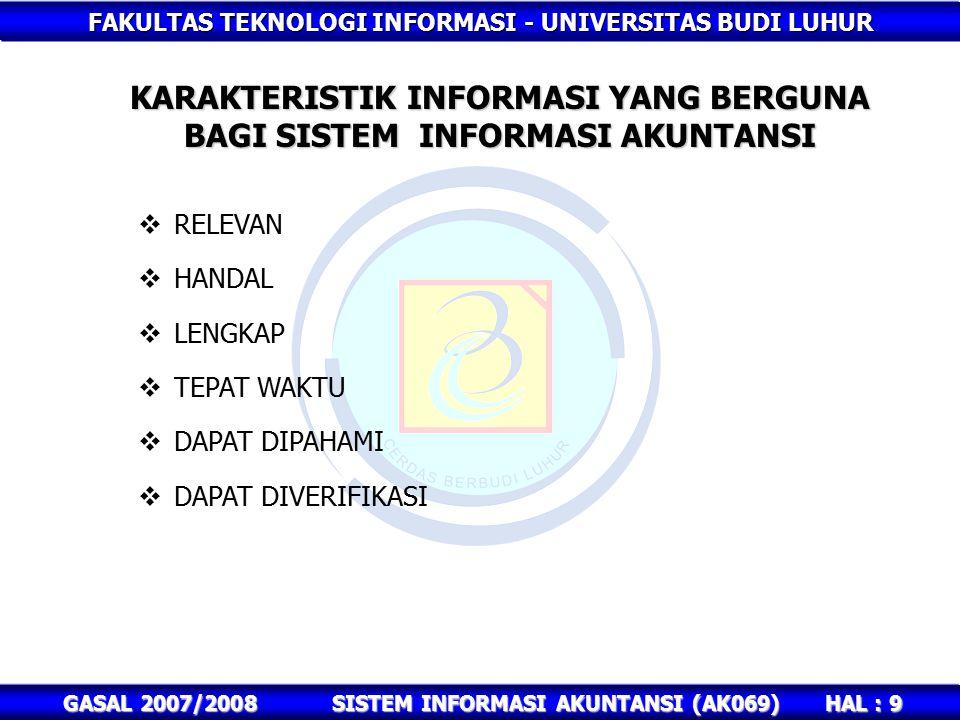 FAKULTAS TEKNOLOGI INFORMASI - UNIVERSITAS BUDI LUHUR HAL : 9 GASAL 2007/2008SISTEM INFORMASI AKUNTANSI (AK069) KARAKTERISTIK INFORMASI YANG BERGUNA BAGI SISTEM INFORMASI AKUNTANSI  RELEVAN  HANDAL  LENGKAP  TEPAT WAKTU  DAPAT DIPAHAMI  DAPAT DIVERIFIKASI