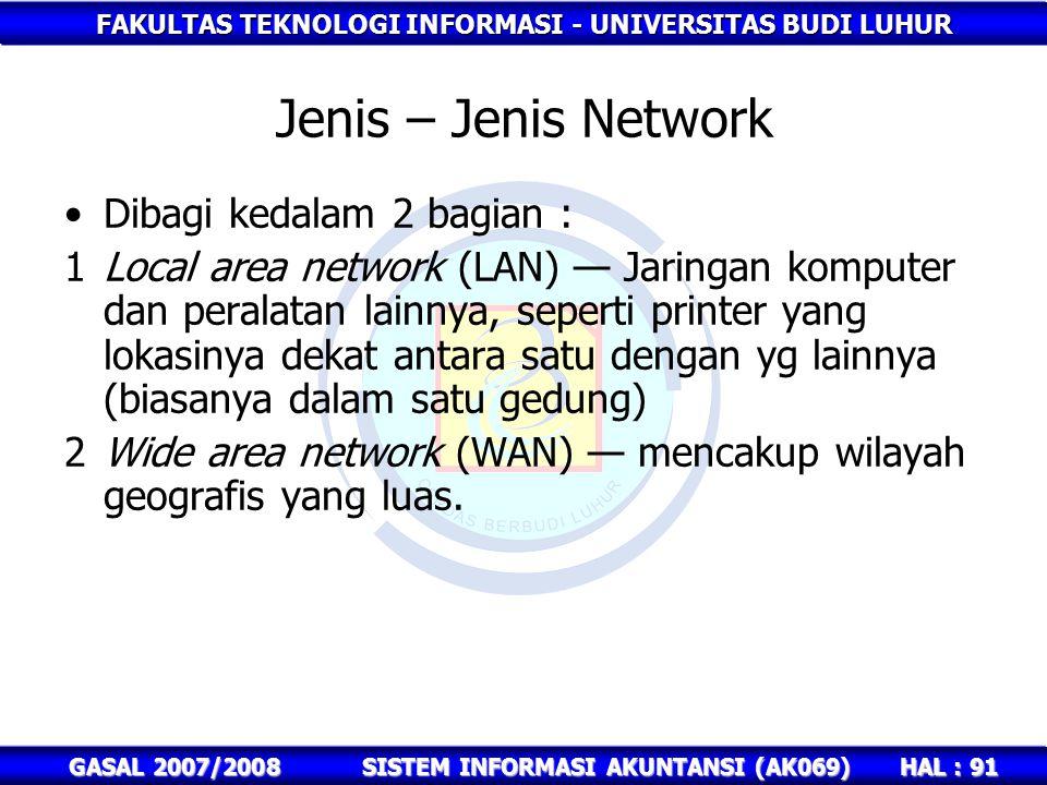FAKULTAS TEKNOLOGI INFORMASI - UNIVERSITAS BUDI LUHUR HAL : 91 GASAL 2007/2008SISTEM INFORMASI AKUNTANSI (AK069) Jenis – Jenis Network Dibagi kedalam 2 bagian : 1Local area network (LAN) — Jaringan komputer dan peralatan lainnya, seperti printer yang lokasinya dekat antara satu dengan yg lainnya (biasanya dalam satu gedung) 2Wide area network (WAN) — mencakup wilayah geografis yang luas.