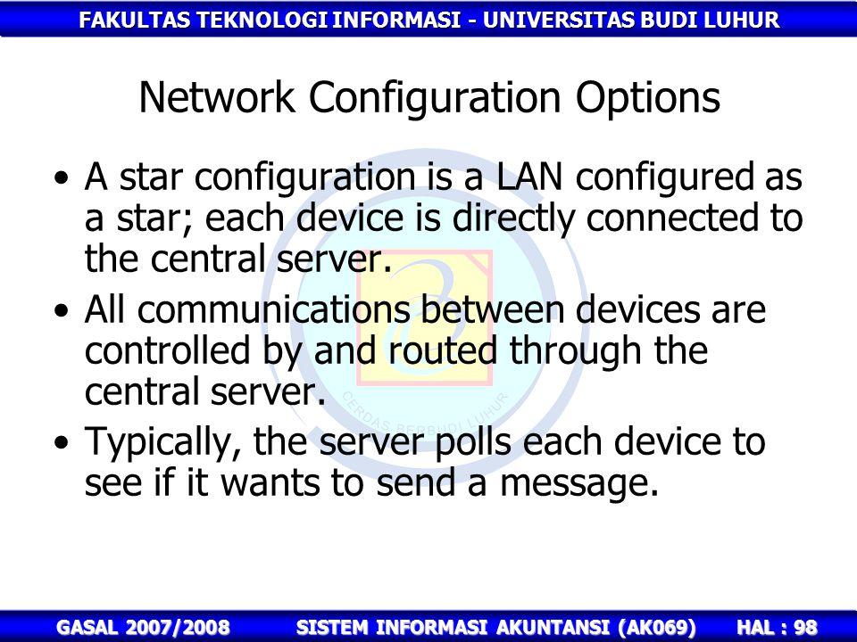 FAKULTAS TEKNOLOGI INFORMASI - UNIVERSITAS BUDI LUHUR HAL : 98 GASAL 2007/2008SISTEM INFORMASI AKUNTANSI (AK069) Network Configuration Options A star configuration is a LAN configured as a star; each device is directly connected to the central server.