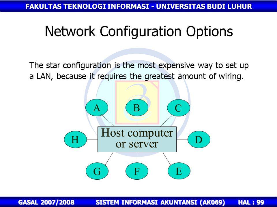 FAKULTAS TEKNOLOGI INFORMASI - UNIVERSITAS BUDI LUHUR HAL : 99 GASAL 2007/2008SISTEM INFORMASI AKUNTANSI (AK069) Network Configuration Options The star configuration is the most expensive way to set up a LAN, because it requires the greatest amount of wiring.