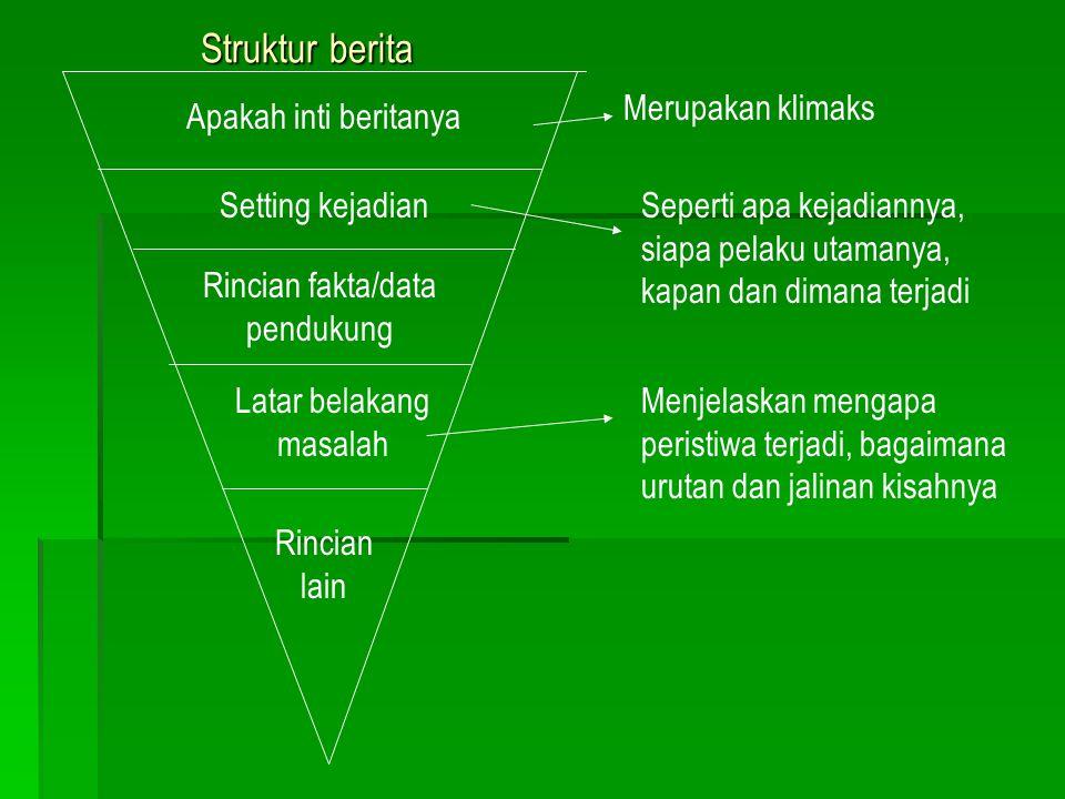 Straight News = Hard News ( Berita Langsung ) Struktur piramida terbalik ( inverted pyramid ) Judul Lead Body Semakin ke bawah kurang penting Lead ber