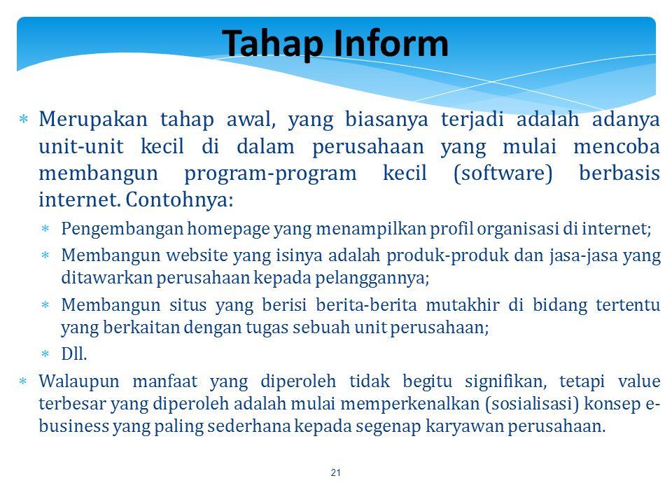 21  Merupakan tahap awal, yang biasanya terjadi adalah adanya unit-unit kecil di dalam perusahaan yang mulai mencoba membangun program-program kecil