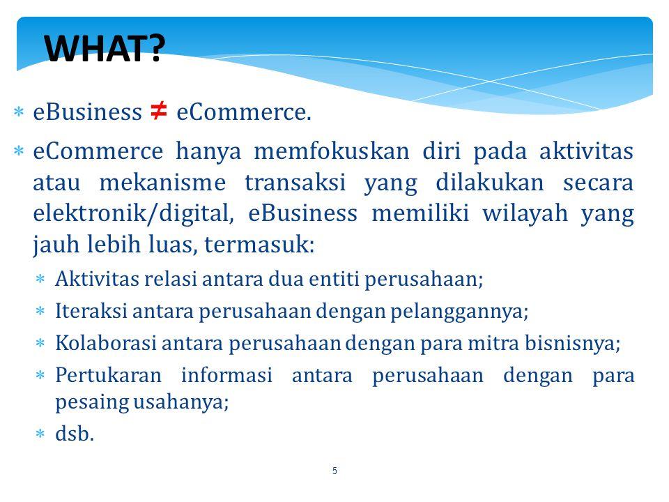 5  eBusiness ≠ eCommerce.  eCommerce hanya memfokuskan diri pada aktivitas atau mekanisme transaksi yang dilakukan secara elektronik/digital, eBusin