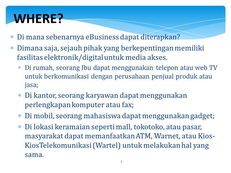 7  Di mana sebenarnya eBusiness dapat diterapkan?  Dimana saja, sejauh pihak yang berkepentingan memiliki fasilitas elektronik/digital untuk media a