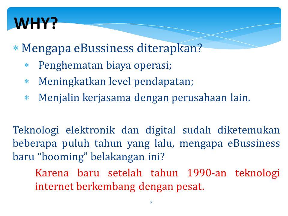 8  Mengapa eBussiness diterapkan?  Penghematan biaya operasi;  Meningkatkan level pendapatan;  Menjalin kerjasama dengan perusahaan lain. Teknolog