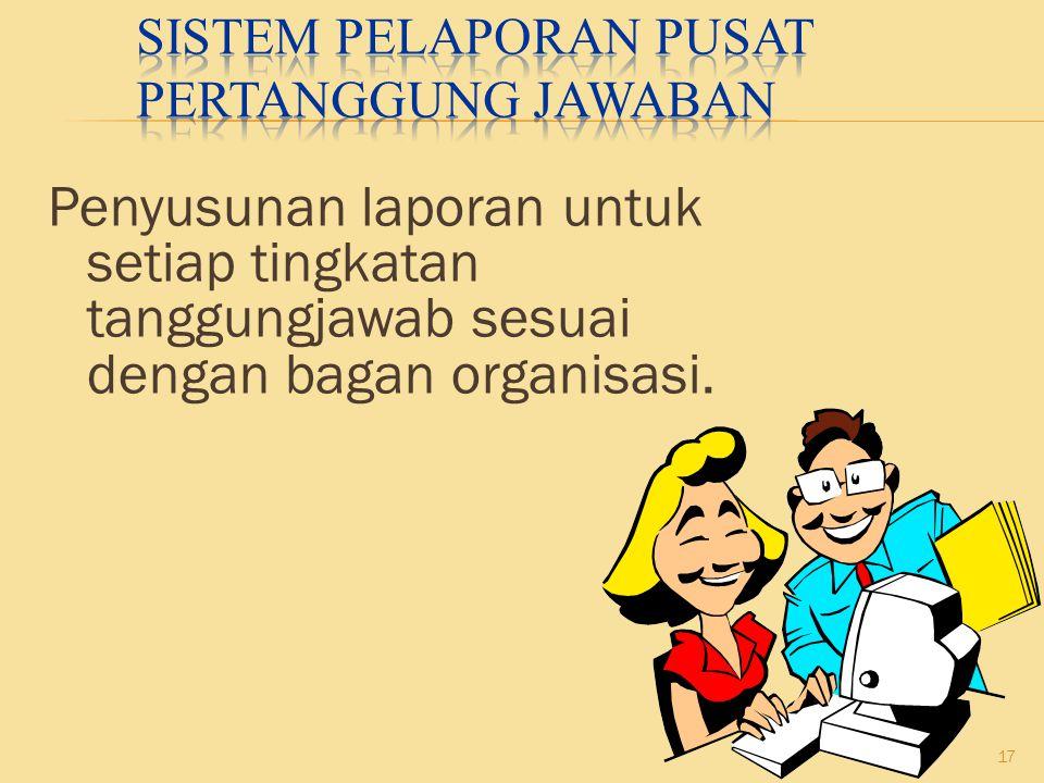 Penyusunan laporan untuk setiap tingkatan tanggungjawab sesuai dengan bagan organisasi. 17