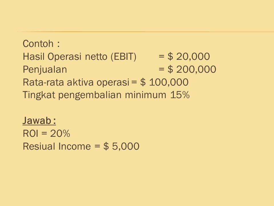 Contoh : Hasil Operasi netto (EBIT) = $ 20,000 Penjualan = $ 200,000 Rata-rata aktiva operasi= $ 100,000 Tingkat pengembalian minimum 15% Jawab : ROI
