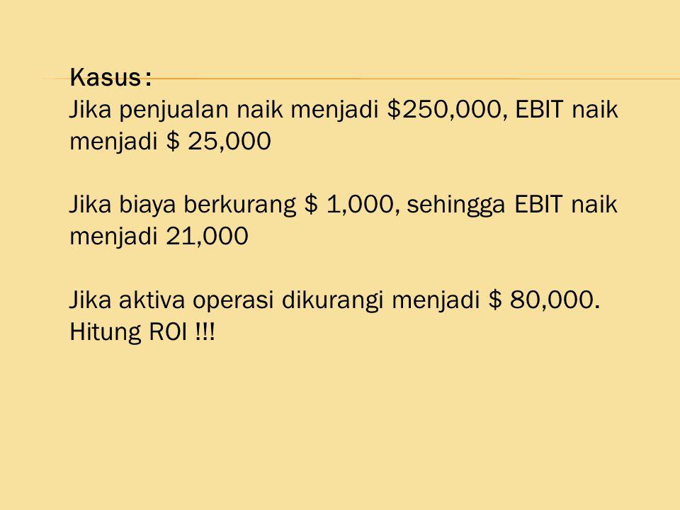 Kasus : Jika penjualan naik menjadi $250,000, EBIT naik menjadi $ 25,000 Jika biaya berkurang $ 1,000, sehingga EBIT naik menjadi 21,000 Jika aktiva o
