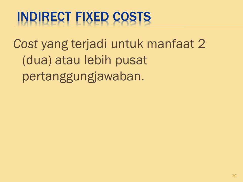 Cost yang terjadi untuk manfaat 2 (dua) atau lebih pusat pertanggungjawaban. 39