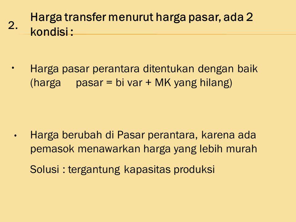 Harga transfer menurut harga pasar, ada 2 kondisi : Harga pasar perantara ditentukan dengan baik (harga pasar = bi var + MK yang hilang) Harga berubah