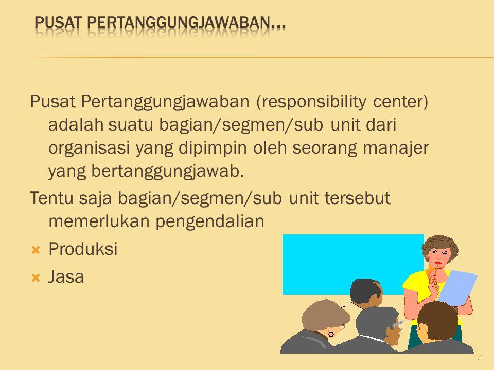 Pusat Pertanggungjawaban (responsibility center) adalah suatu bagian/segmen/sub unit dari organisasi yang dipimpin oleh seorang manajer yang bertanggu