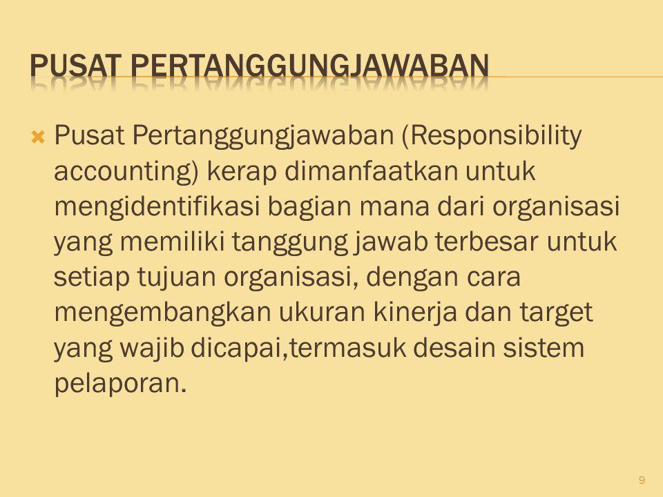  Pusat Pertanggungjawaban (Responsibility accounting) kerap dimanfaatkan untuk mengidentifikasi bagian mana dari organisasi yang memiliki tanggung ja