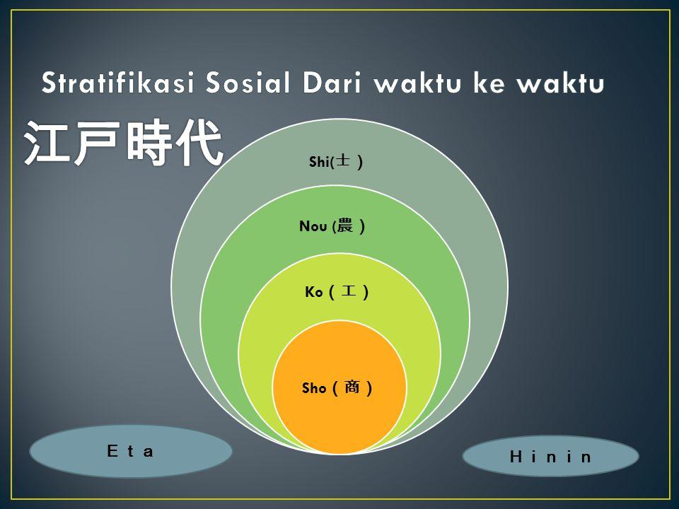 Shi( 士) Nou ( 農) Ko (工) Sho (商) Eta Hinin