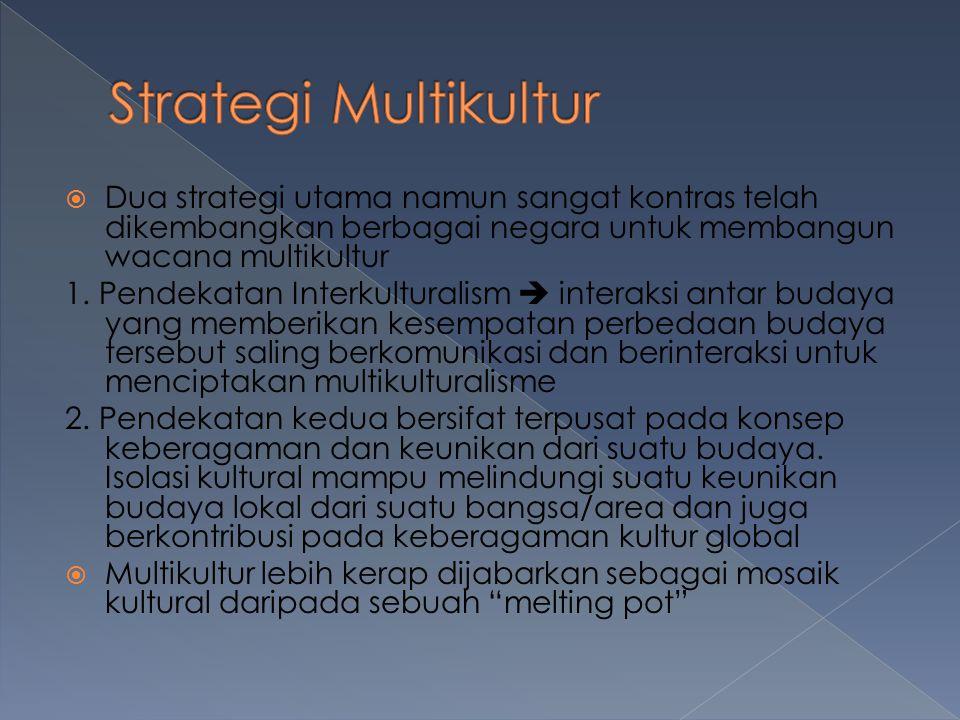  Dua strategi utama namun sangat kontras telah dikembangkan berbagai negara untuk membangun wacana multikultur 1.