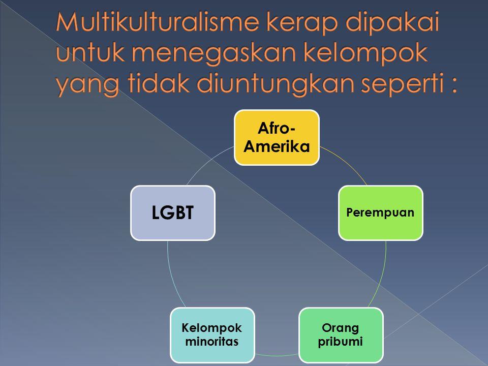 Afro- Amerika Perempuan Orang pribumi Kelompok minoritas LGBT