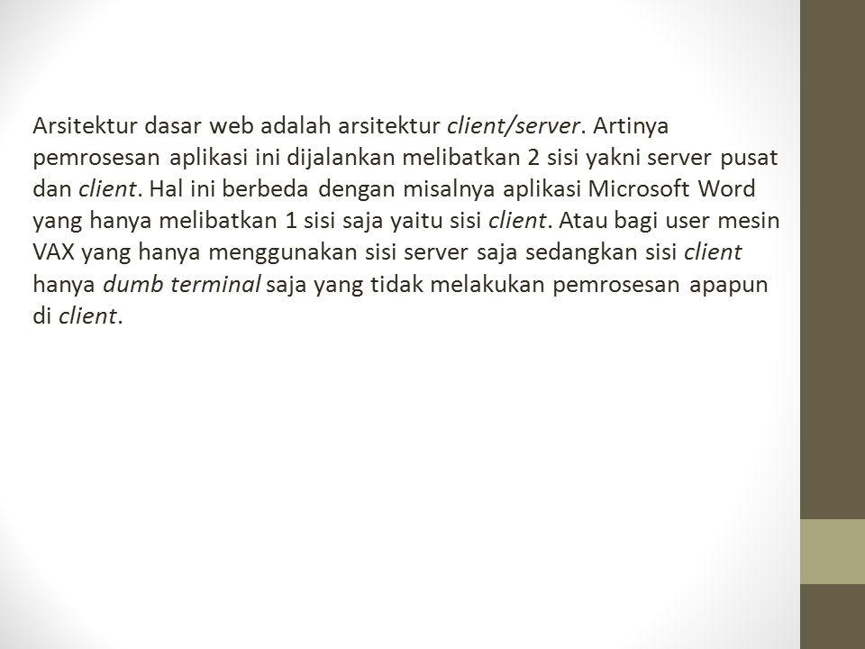 Arsitektur dasar web adalah arsitektur client/server. Artinya pemrosesan aplikasi ini dijalankan melibatkan 2 sisi yakni server pusat dan client. Hal