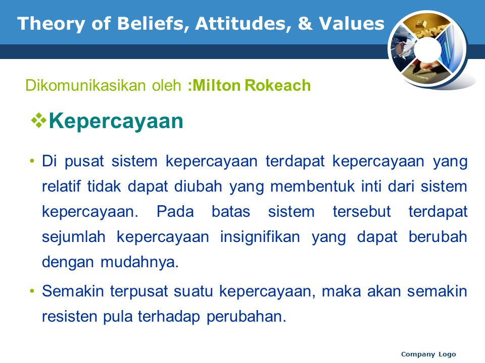 www.thmemgallery.com Company Logo Theory of Beliefs, Attitudes, & Values  Kepercayaan Di pusat sistem kepercayaan terdapat kepercayaan yang relatif t