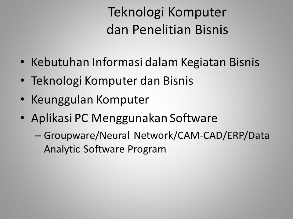 Teknologi Komputer dan Penelitian Bisnis Kebutuhan Informasi dalam Kegiatan Bisnis Teknologi Komputer dan Bisnis Keunggulan Komputer Aplikasi PC Mengg