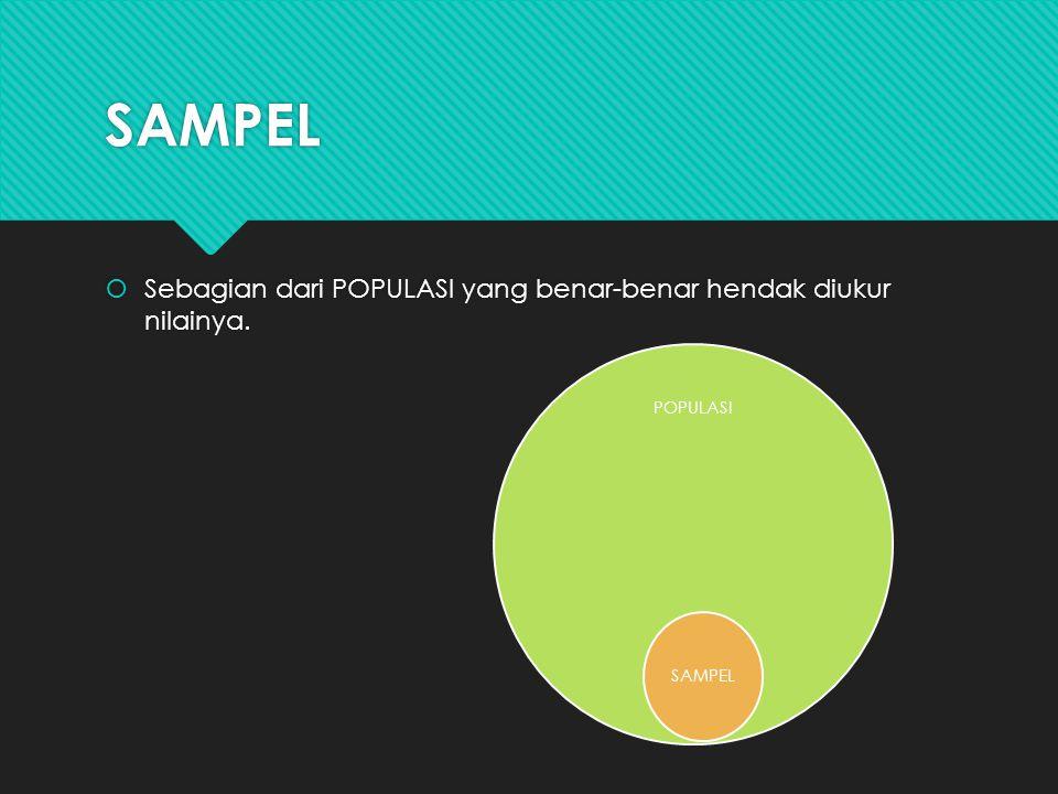 SAMPEL  Sebagian dari POPULASI yang benar-benar hendak diukur nilainya. POPULASI SAMPEL