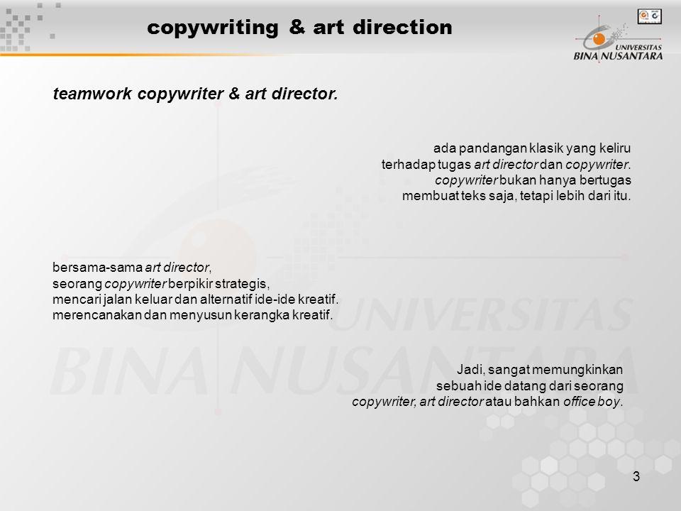 3 copywriting & art direction bersama-sama art director, seorang copywriter berpikir strategis, mencari jalan keluar dan alternatif ide-ide kreatif. m