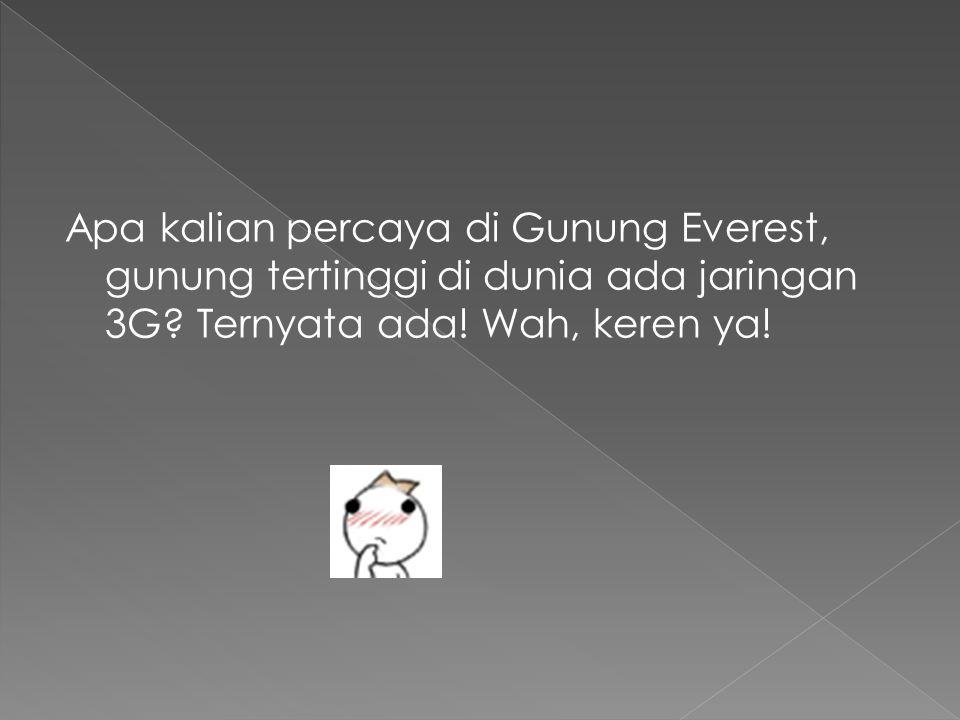 Apa kalian percaya di Gunung Everest, gunung tertinggi di dunia ada jaringan 3G? Ternyata ada! Wah, keren ya!