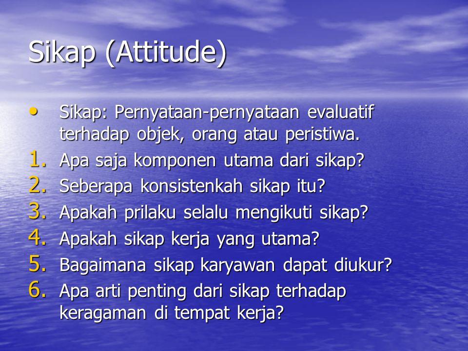 Sikap (Attitude) Sikap: Pernyataan-pernyataan evaluatif terhadap objek, orang atau peristiwa.