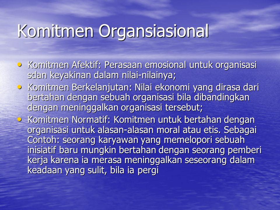 Komitmen Organsiasional Komitmen Afektif: Perasaan emosional untuk organisasi sdan keyakinan dalam nilai-nilainya; Komitmen Afektif: Perasaan emosional untuk organisasi sdan keyakinan dalam nilai-nilainya; Komitmen Berkelanjutan: Nilai ekonomi yang dirasa dari bertahan dengan sebuah organisasi bila dibandingkan dengan meninggalkan organisasi tersebut; Komitmen Berkelanjutan: Nilai ekonomi yang dirasa dari bertahan dengan sebuah organisasi bila dibandingkan dengan meninggalkan organisasi tersebut; Komitmen Normatif: Komitmen untuk bertahan dengan organisasi untuk alasan-alasan moral atau etis.