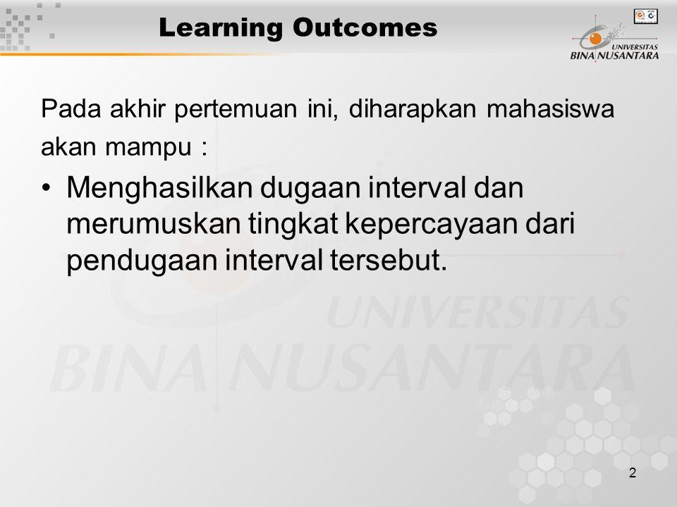 2 Learning Outcomes Pada akhir pertemuan ini, diharapkan mahasiswa akan mampu : Menghasilkan dugaan interval dan merumuskan tingkat kepercayaan dari p