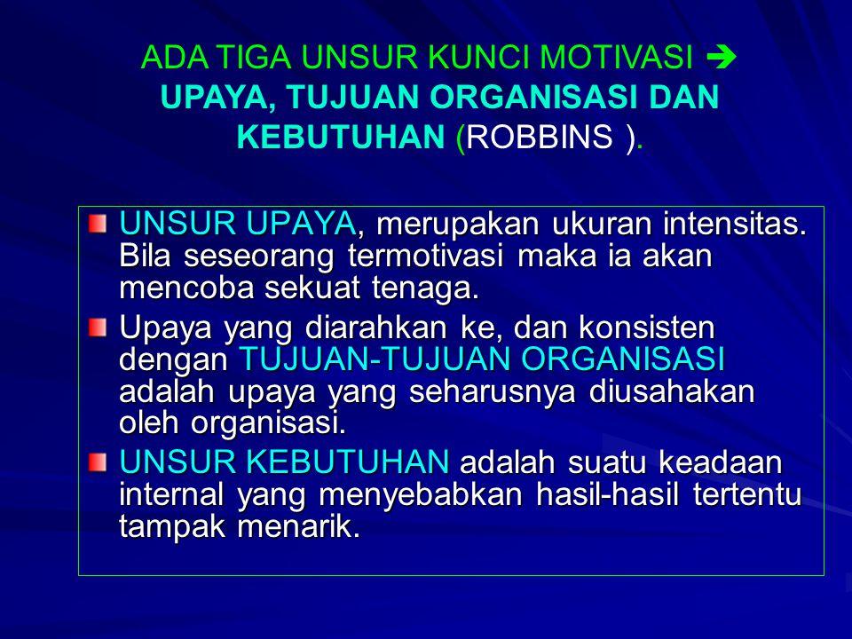 MOTIVASI PENGERTIAN (Stephen P. Robbins, 2001) –kesediaan untuk mengeluarkan tingkat upaya yang tinggi untuk tujuan organisasi, yang dikondisikan oleh